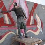 Diablos en train de créer un mural, Dakar, Sénégal, avril, 2013